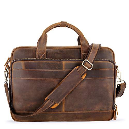 "Jack&Chris Men's Genuine Leather Briefcase Messenger Bag Attache Case 15.6"" Laptop (Yellow Brown)"