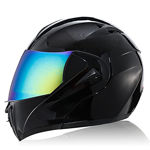 Casco De Moto Abatible con Doble Visera Cascos De Carreras De Motocross Modulares Casco De Moto Integral A Prueba De Viento Forro extraíble y lavable ECE 22(Size:M(57-58CM),Color:Visera colorida)