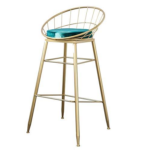 MEIDUO Durable Selles Bar Nordique Style Tabouret Fer Art Chair Color or Accueil Haute Tabouret Chaise de Salle À Manger Moderne Wire Bar Métal Chaise pour intérieur extérieur (Couleur : Green-65cm)