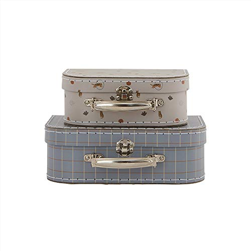 OYOY Mini - 2er Set Kinderkoffer Mädchen/Jungen mit Tiger - zur Aufbewahrung im Kinderzimmer - Mini Suitcase Tiger Blau Grau - 22,5x18x8,5 cm