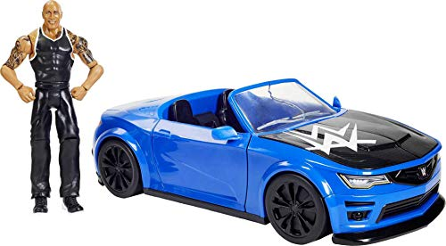 WWE Wrekkin' Slam-Mobile Vehicle 13-in with Rolling Wheels and 8 Breakable Parts & 6-in The Rock Basic Action Figure, Gift for Ages 6 Years Old & Up [Amazon Exclusive]