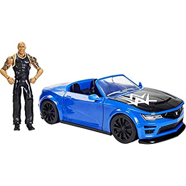 WWE Wrekkin' Slam-Mobile Vehicle (13-in) with Rolling Wheels and 8 Breakable Parts & 6-in The Rock Action Figure, Gift…