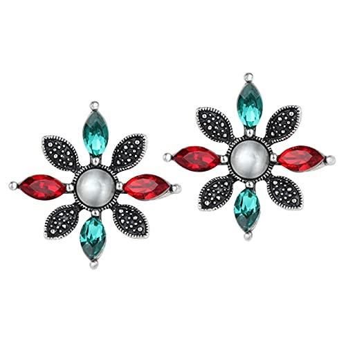 Pendientes de botón de ópalo a la moda para mujer Plata tibetana Flor de cristal rojo Navidad sexy