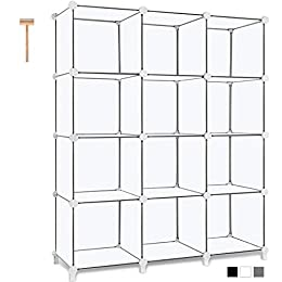 More Storage Space: 12 cubes are available for storage. You can store all sort of items as you want: books, clothes, toys, artworks, decorations and more. The size of each cube is 11. 8x11. 8x11. 8 inch, providing large space to hold more things. Ple...