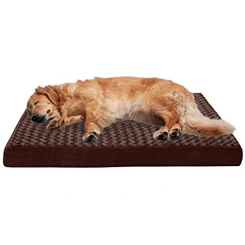 Furhaven Pet Dog Bed - Deluxe Orthopedic Mat Ultra Plush Faux Fur Traditional Foam Mattress Pet Bed with Removable Cover for Dogs and Cats, Chocolate, Jumbo