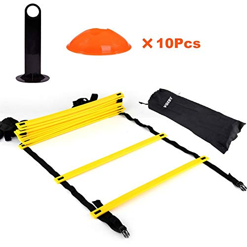 VGEBY Speed Agility Training Ladder Kit-12 Adjustable Flat Rungs and 10 Cones with Carry Handle-for Football Soccer Skate