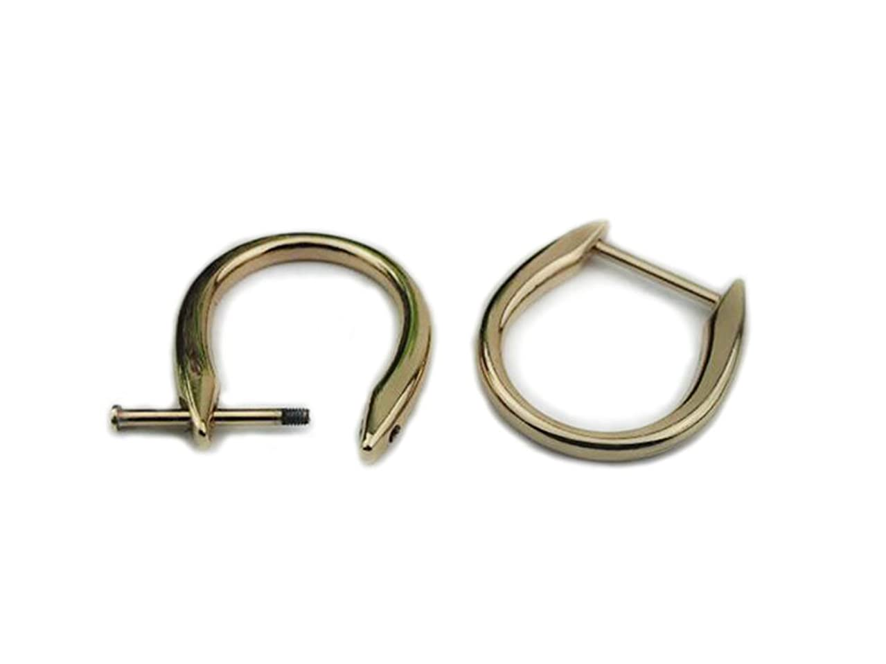 Bobeey 4pcs 7/8'' Light Gold Loop D-Rings,Screw In Shackle Semicircle D Ring,DIY Leather Craft Accessories,Purse Findings BBC12 (7/8'', Light Gold)