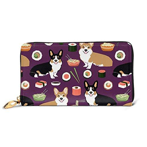 Damen Geldbörse Corgis Hund mit Futter Designer Premium Leder Reißverschluss Geldbörsen Druckkarte Clutch Halter Geldbörse
