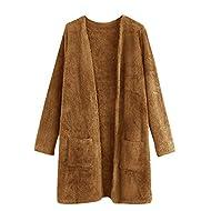 ONTBYB Womens Winter Warm Open Front Long Sleeve Fleece Lined Wool Blend Jacket