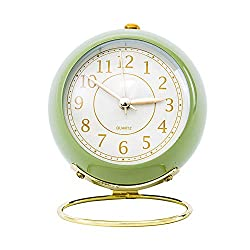 SHISEDECO Small Table Clocks, Classic Non-Ticking Tabletop Alarm Clock with Backlight, Battery Operated Desk Astronaut Clock with HD Glass for Living Room Bedroom Bedside Indoor Decor (Green)