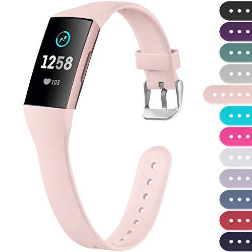 Ouwegaga Kompatibel mit Fitbit Charge 4 Armband/Fitbit Charge 3 Armband, Weiches Band Ersatz Sport Armband für Damen Herren, Klein Rosa