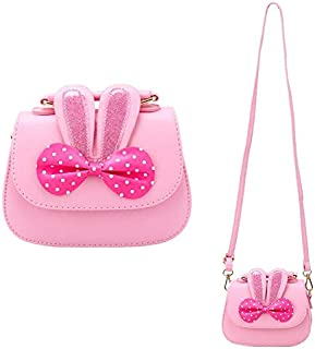 CC ONE Little Girls Crossbody Purse for Kids - Toddler PU Leather Mini Cute Handbags Shoulder Bag(Rabbit Bowknot Pink&Blue)