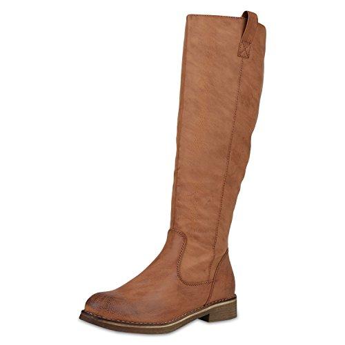 SCARPE VITA Klassische Stiefel Damen Schuhe Leicht Gefüttert Boots Profilsohle 165382 Hellbraun Hellbraun 40