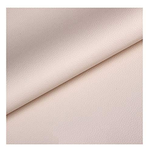 wangk Cuero de imitación Tela Cuero sintético Vinilo Paño de Cuero Material de Tela Tela de Polipiel para Tapizar Tela de Imitación de Ancho 137cm Tejido de Piel sintética-Off-White 1.37x1m