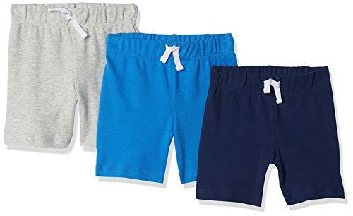 Amazon Essentials - Pack de 3 pantalones cortos con cintura elástica para niño, Blue/Grey Solid, 50 cm