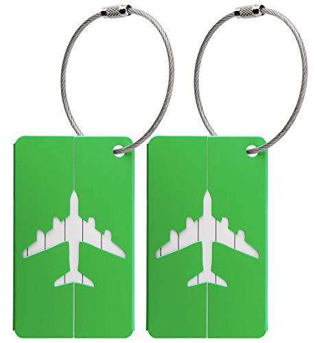 Kofferanhänger aus Metall mit Namensschild und Flug-Motiv 2 Stück (Grün Metallic)