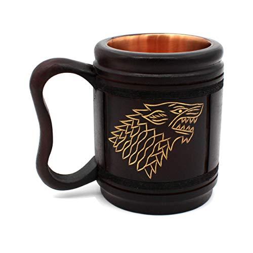 5MoonSun5's Handmade wooden Beer Mug copper Cup Carved Natural Beer Stein Old-Fashioned Barrel Brown Vintage Bar accessories - Wood Carving stark Beer Mug Great Retro Design Beer Tankard for Men 16oz,