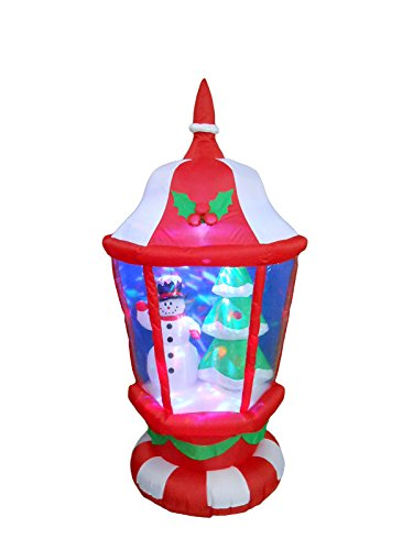 BZB Goods 6 Foot Tall Lighted Christmas Inflatable Lantern with Snowman and Tree LEDs Indoor Outdoor Yard Decoration