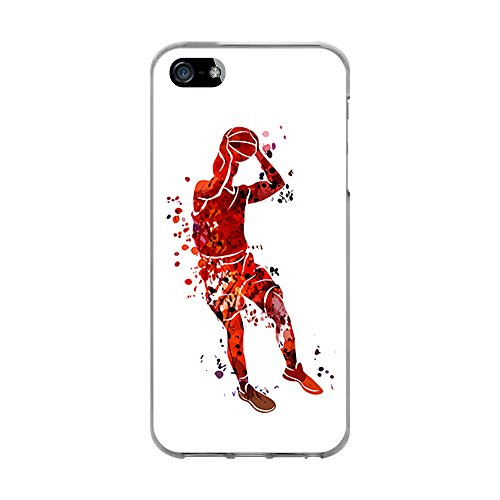 BJJ Funda Transparente para [ iPhone 5 5S SE ], Carcasa de Silicona Flexible TPU, diseño: Jugador de Baloncesto Watercolor