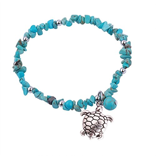 REEBOOOR Starfish Ankle Bracelet Amethyst Healing Stone Stretch Anklet Bracelet Chakra Beach Foot Jewelry for Women Girl (Turquoise with Turtle)