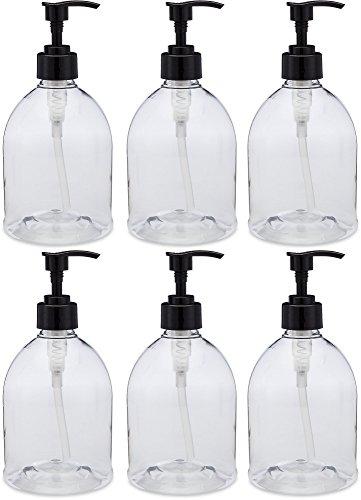 (6 Pack) Earth's Essentials Versatile 16 Ounce Refillable Designer Pump Bottles. Excellent Liquid Hand Soap, Homemade Lotion, Shampoo and Massage Oil Dispensers. Shatterproof PET Plastic.