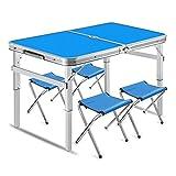 SFM MSF Mesa Plegable 90 x 60 cm 3 pies portátil y Mesa Plegable Ajustable para Acampar Banquete Picnic Party Garden con 4 Piezas sillas (Color : Blue)