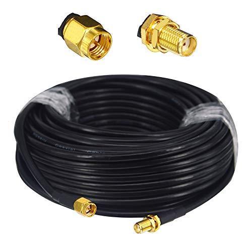 BOOBRIE RG58/U SMA macho a SMA hembra de 128 trenzados de cobre puro, 5 metros para cable de extensión de router WiFi 3G 4G LTE Antena WiFi de baja pérdida, router LAN inalámbrico GPS (no para TV)
