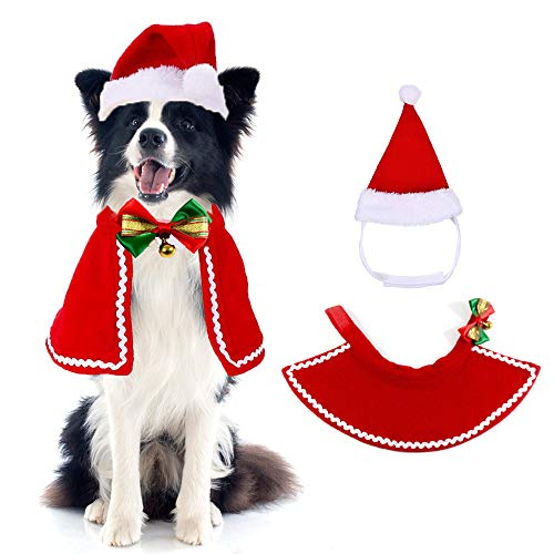 Christmas Cat Clothing, Pet Christmas Coat Costume, Pet Adjustable Christmas Sankt Hat, for Puppies Kittens Small Cats Dogs Pets, Pet Sweet Gift