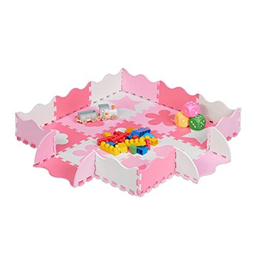 Relaxdays Puzzlematte 34-teilig, EVA Schaumstoff, schadstofffrei, 0,77 m², Spielmatte Rand, versch. Motive, pink/rosa