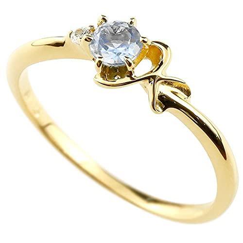[アトラス]Atrus 指輪 レディース 10金 イエローゴールドk10 ブルームーンストーン ダイヤモンド イニシャル ネーム K ピンキーリング 華奢 アルファベット 6月誕生石 22号