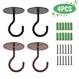 OUTCREATOR Wall Mount Ceiling Hooks,4pcs Hooks (Black & Copper) for Hanging Bird Feeders,Planters,Wind Chimes,Lanterns,Outdoor Indoor Decor Hooks