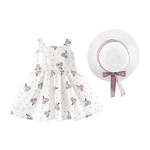 Transer Robe bébé Fille sans Manches avec Motif de Vague de Cerisier et Robe de Princesse + Chapeau de Paille