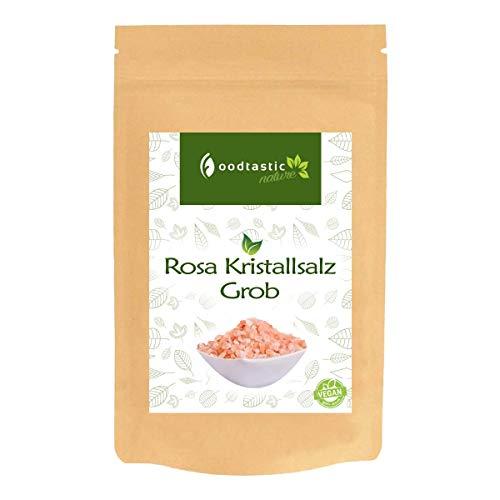 Foodtastic Rosa Kristallsalz Grob 1000g / 1kg, grobe Körnung von 3-5mm, pinkes Kristallsalz aus Pakistan, Vorratspackung zum Nachfüllen einer Gewürzmühle / Salzmühle