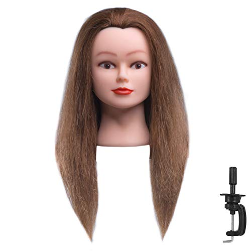 """CZFY Cosmetology Mannequin Head with 100% Real Human Hair and Adjustable Stand 22-24"""" for Braiding Hair Styling Training Hairart Barber Hairdressing Fashion Salon Display (Blonde)"""