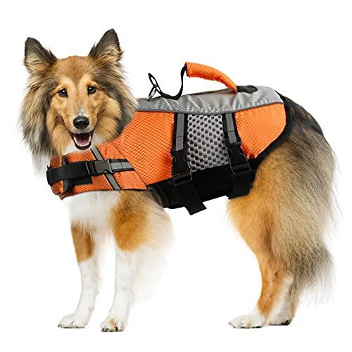 Dog Life Jacket Swimming Vest, Adjustable Dog Flotation Vest High Reflective Pet Life Preserver with Rescue Handle for Small Medium Large Dogs (Large, Orange)