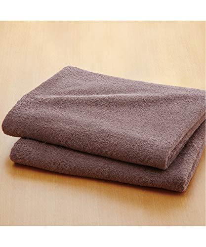 [nissen(ニッセン)] 乾きやすいデイリーカラー超薄手大判バスタオル同色2枚セット J=ブラウン (約)90×150cm