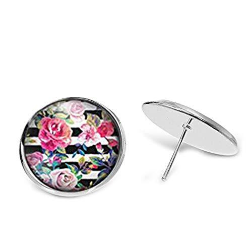 Orecchini casetta elfo cabochon/fiori su linee, gioielli in vetro a cupola, realizzati a mano