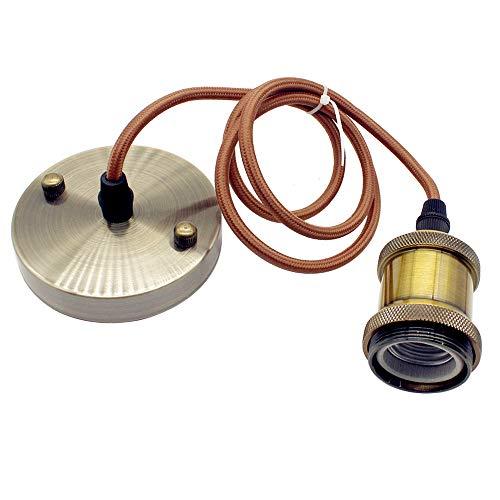 Lámpara colgante vintage estilo industrial moderno E27 con casquillo E27 con cable redondo trenzado, latón envejecido (latón)