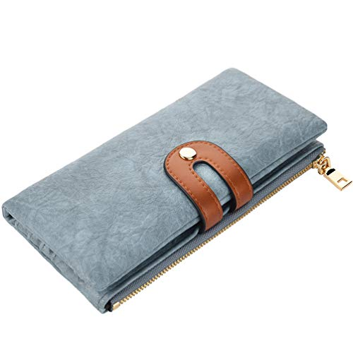 VBIGER Geldbörse Damen Geldbeutel Groß Damen Portemonnaie Kunstleder RFID Schutz Lang Brieftasche mit Mehreren Kartenfächern und Handyfach Blau