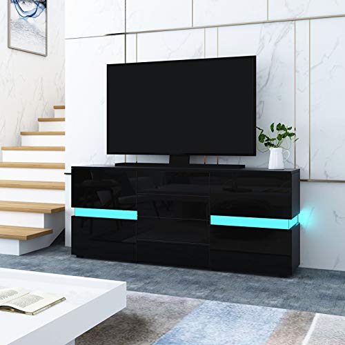 UNDRANDED Modern TV Board Schrank Hochglanz Front mit 2 Türen 4 Schubladen Fernsehtisch Einheit LED Streifen für Wohnzimmer 177 x 35 x 72 cm (Schwarz)