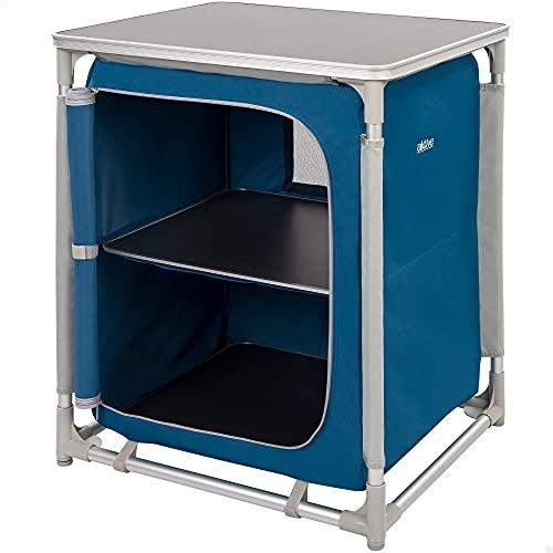 Aktive 52854 - Mueble plegable cocina, armario plegable camping, jardín, aluminio, armario portátil ligero, 60x49x70.5 cm, color azul marino