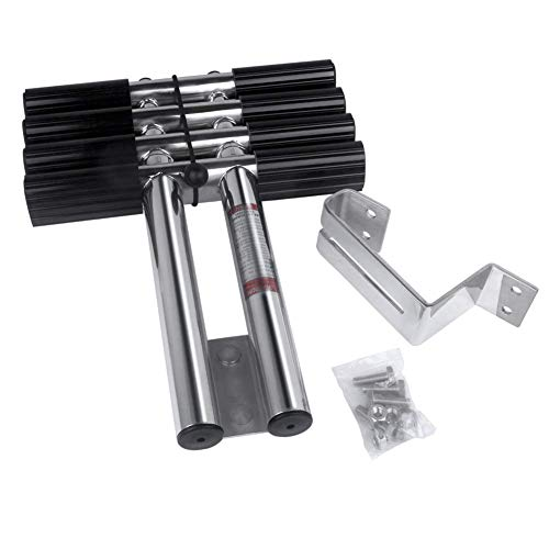 Hoffen 4 Steps Boat Ladder Stainless Steel Telescopic Ladder Dual Vertical Telescoping Tube with 2.56