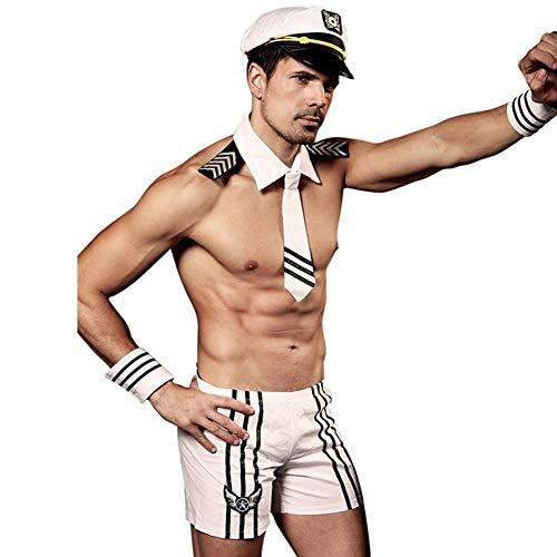 Mylhope Mannen Sexy Wit Navy Rol Spelen Lingerie Night Club Uniform Set Gentleman Ondergoed