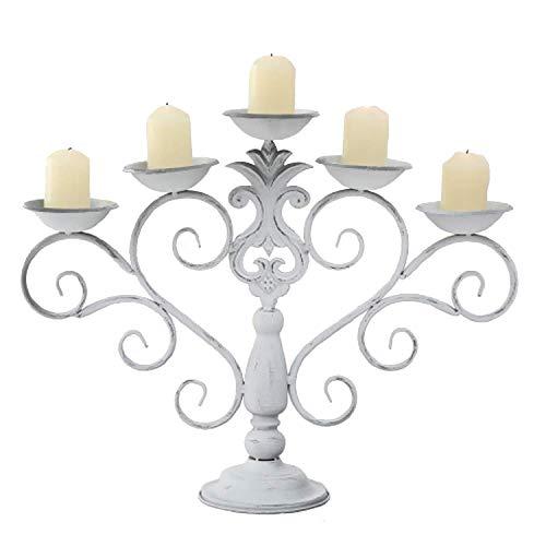 CasaJame Kerzenständer Antik Weiss, Kerzenleuchter Vintage Shabby chic, 5-Armiger Kerzenhalter Metall Eisen 54 cm