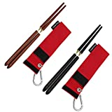 Hawk Zing Detachable Collapsible Foldable Wood Chopsticks Rosewood/Ebony Portable Outdoor Utensils W/Storage Bag W/Carabiner (Type A + Type B, 2 Pairs)