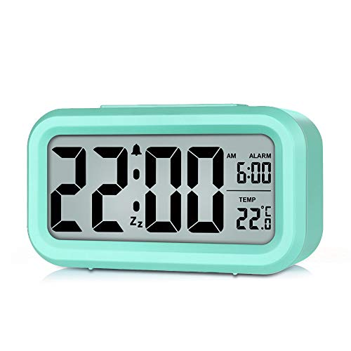 Eachui Dimmbarer, Intelligenter Nachtlicht Digitaler Wecker mit Schlummerfunktion und Temperaturanzeige, Einfache Bedienung, Batteriebetrieben, 12/24St.