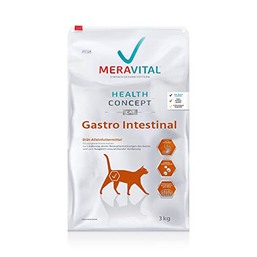 MERAVITAL Gastro Intestinal Katzenfutter trocken 3 kg für Katzen bei Verdauungsstörungen mit hochwertiger Zusammensetzung aus Geflügel & Reis