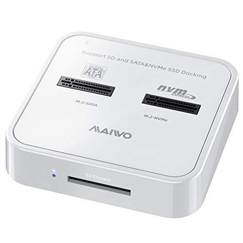 MAIWO K3016SD Estación de Acoplamiento de Disco Duro,Base de Disco Duro de Doble bahía M.2 SATA   NVME, Lector de Tarjetas de Memoria Caja de Disco Duro Externo.