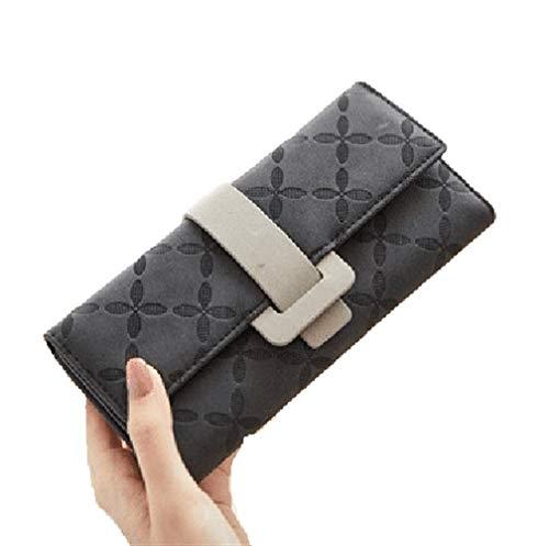 NOLOGO Damenbörse personalisierte große Kapazität kann Studentengeldbeutel aufnehmen Vertical Wallet (Color : Black)