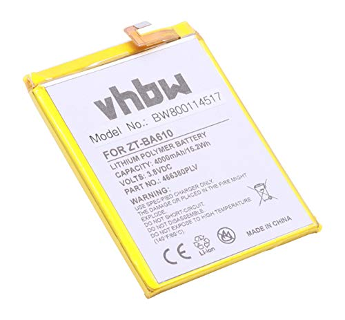 vhbw Litio polímero batería 4000mAh (3.8V) para móvil Smartphone teléfono ZTE Blade A610, A610 Dual SIM, A610 Dual SIM TD-LTE, BA610, BA610C